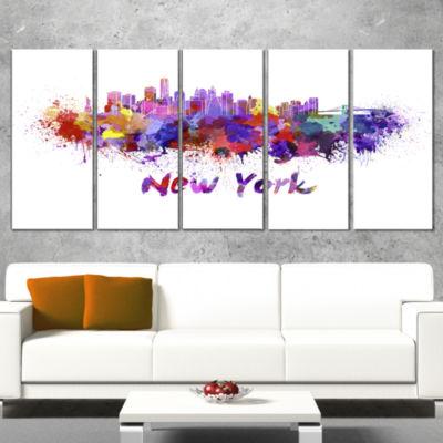 Designart New York Skyline Cityscape Canvas Artwork Print -4 Panels