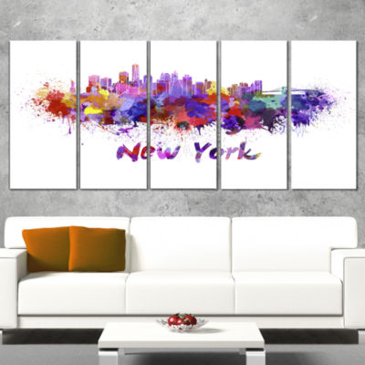 New York Skyline Cityscape Canvas Artwork Print -5 Panels