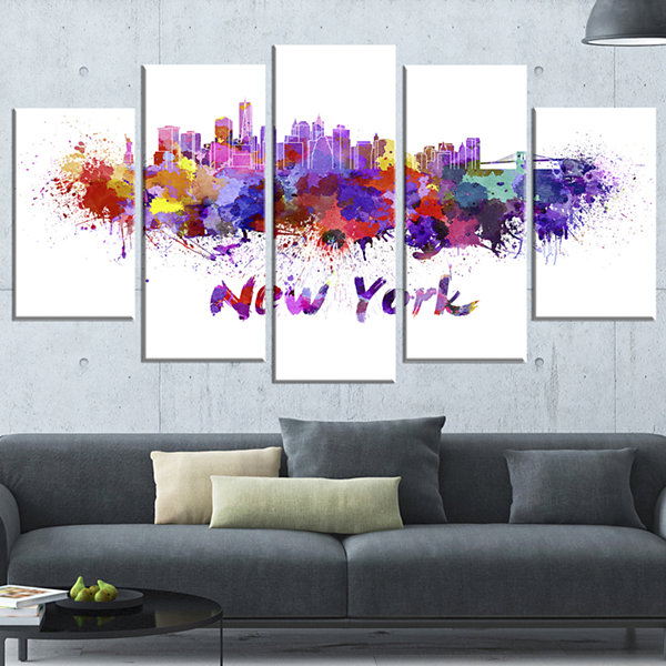 Designart New York Skyline Large Cityscape CanvasArtwork Print - 5 Panels
