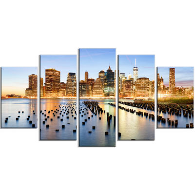 Designart New York Skyline With Skyscrapers Cityscape Wrapped Canvas Print - 5 Panels