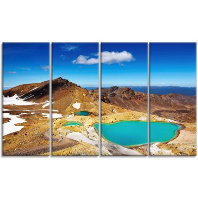 Designart New Zealand Emerald Lakes Photography Canvas Art Print - 4 Panels