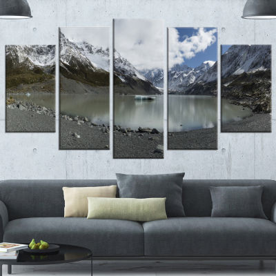 New Zealand Mountains Panorama Large Landscape Wrapped Canvas Art - 5 Panels