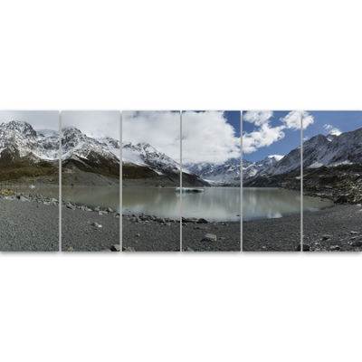 Designart New Zealand Mountains Panorama Large Landscape Canvas Art 6 Panels