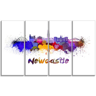 Designart Newcastle Skyline Cityscape Canvas Art Print - 4 Panels