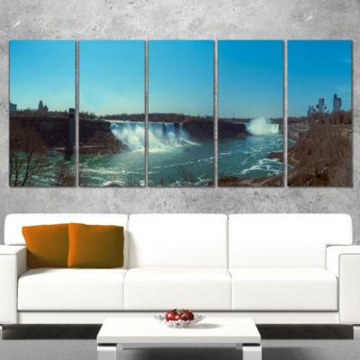 Designart Niagara Falls Viewed From Canada Large Seascape Art Wrapped Canvas Print - 5 Panels