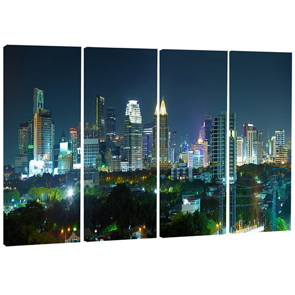 Designart Night City Bangkok Cityscape PhotographyCanvas Art Print - 4 Panels