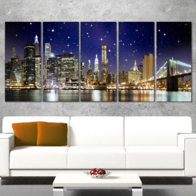 Designart Night Colors Over Brooklyn Bridge Cityscape PhotoCanvas Print - 5 Panels