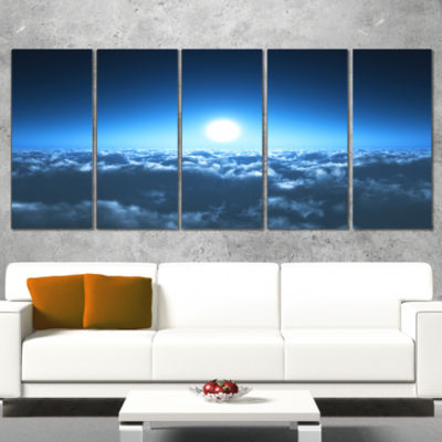 Designart Night Flight Above Clouds Extra Large Wall Art Landscape - 4 Panels