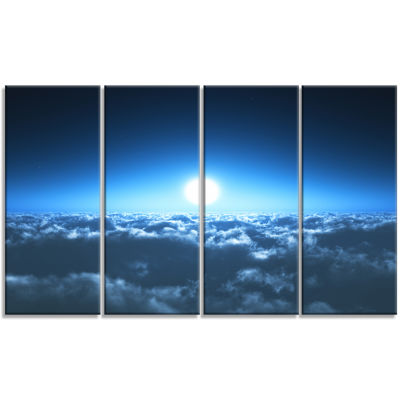 Night Flight Above Clouds Extra Large Wall Art Landscape - 4 Panels