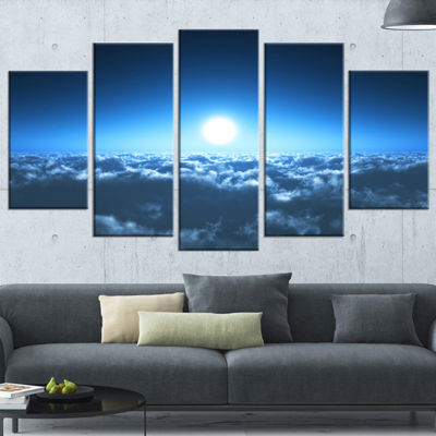 Designart Night Flight Above Clouds Extra Large Wrapped ArtLandscape - 5 Panels