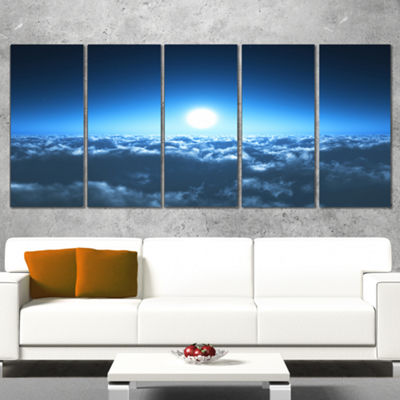 Designart Night Flight Above Clouds Extra Large Wall Art Landscape - 5 Panels
