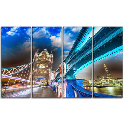 Designart Night Over Tower Bridge in London Cityscape PhotoCanvas Print - 4 Panels