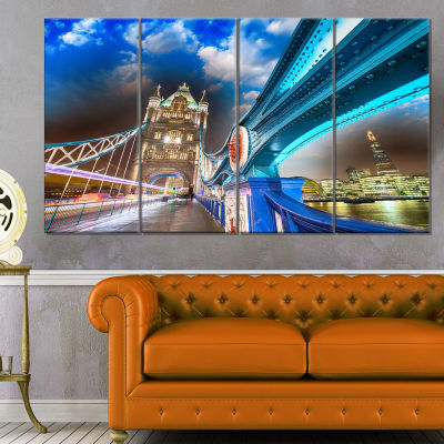 Night Over Tower Bridge in London Cityscape PhotoCanvas Print - 4 Panels