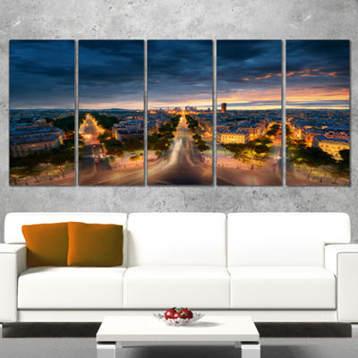 Designart Night Paris Amazing View Skyline Photography Canvas Art - 5 Panels