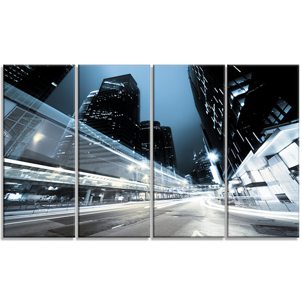 Designart Night Traffic in Hong Kong Cityscape Canvas Print- 4 Panels