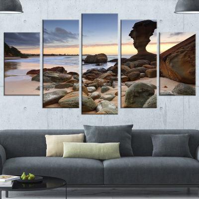 Designart Noraville Central Coast Australia ModernSeashoreWrapped Canvas Art - 5 Panels