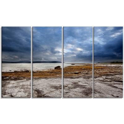 Designart Norway Ocean Coast Land Photography Landscape Canvas Print - 4 Panels