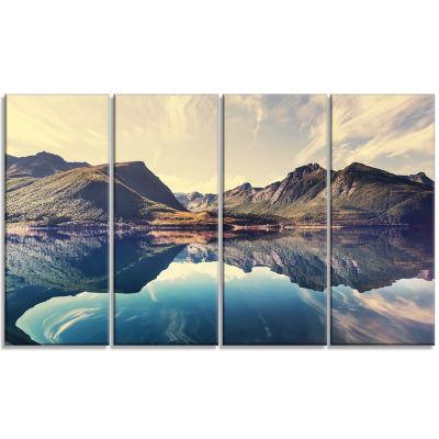 Designart Norway Summer Mountains Landscape Photography Canvas Print - 4 Panels