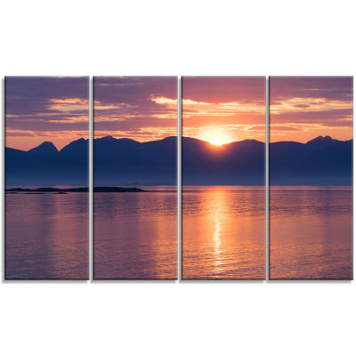 Norwegian Seashore At Sunset Modern Seascape Canvas Artwork - 4 Panels