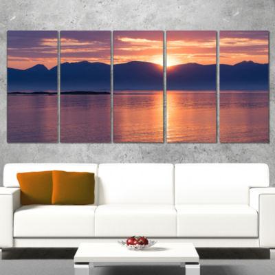 Norwegian Seashore At Sunset Modern Seascape Wrapped Canvas Artwork - 5 Panels