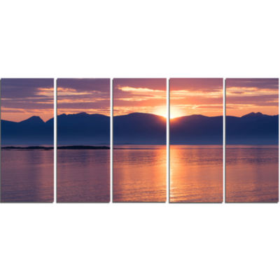 Norwegian Seashore At Sunset Modern Seascape Canvas Artwork - 5 Panels