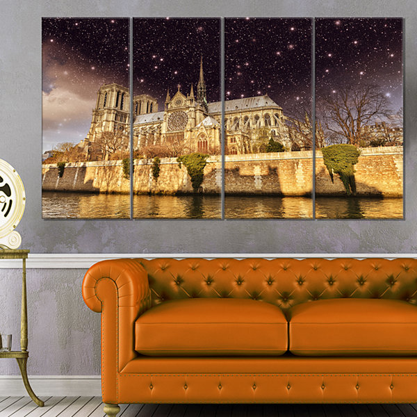 Designart Notre Dame Cathedral At Night CityscapePhoto Canvas Print - 4 Panels