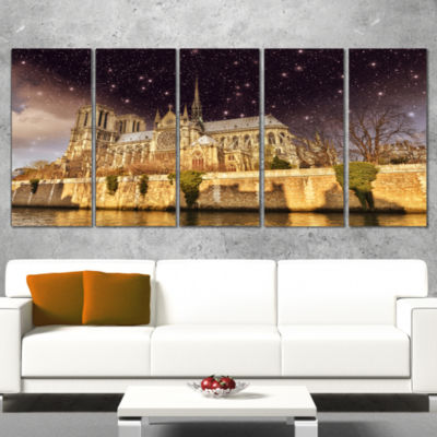 Designart Notre Dame Cathedral At Night CityscapePhoto Canvas Print - 5 Panels