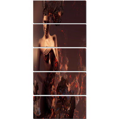 Designart Nude Woman in Burning Ashes Portrait Canvas Art Print - 5 Panels