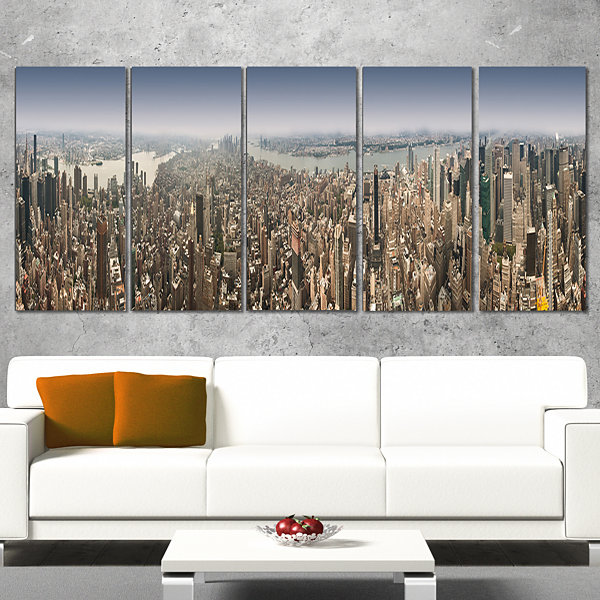 Designart Nyc 360 Degree Panorama Cityscape Photography Canvas Print - 5 Panels