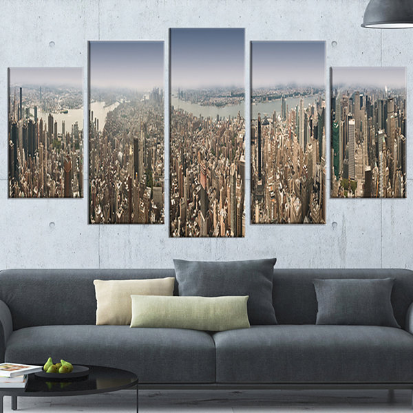 Nyc 360 Degree Panorama Large Cityscape Photography Canvas Print - 5 Panels
