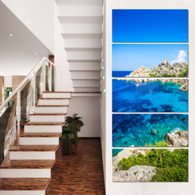 Designart Ocean Bay With Turquoise Water SeascapeCanvas ArtPrint - 4 Panels