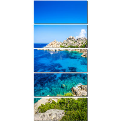 Ocean Bay With Turquoise Water Seascape Canvas ArtPrint - 5 Panels