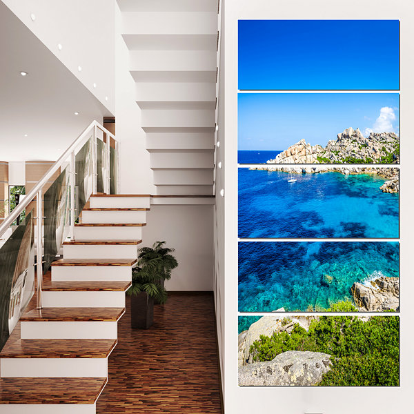Designart Ocean Bay With Turquoise Water SeascapeCanvas ArtPrint - 5 Panels
