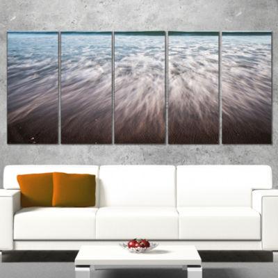 Designart Ocean Beach Water Motion Seascape CanvasArt Print- 4 Panels