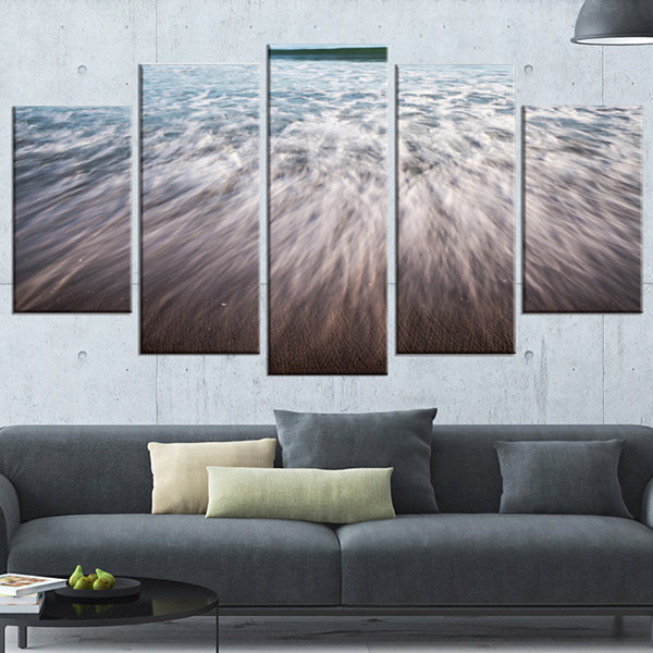 Ocean Beach Water Motion Seascape Wrapped Canvas Art Print - 5 Panels