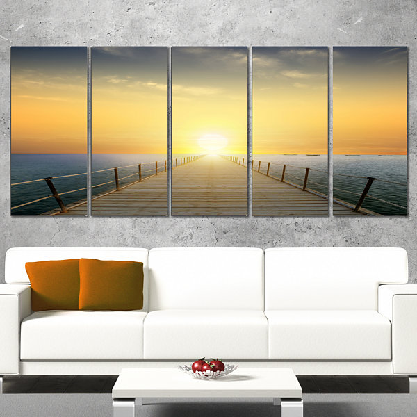 Designart Ocean Sunset With Pier Seascape Canvas Art Print -4 Panels