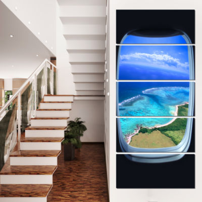 Designart Ocean View From Window Seascape Photography CanvasArt Print - 4 Panels