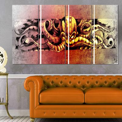 Designart Octopus Sketch in Yellow Shade Animal Canvas Art Print - 4 Panels