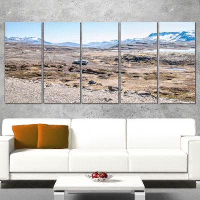 Designart off Road Iceland Mountains Landscape Canvas Art Print - 5 Panels