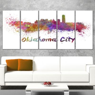 Designart Oklahoma Skyline Cityscape Canvas Artwork Print -4 Panels