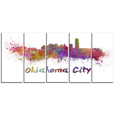 Oklahoma Skyline Cityscape Canvas Artwork Print -5 Panels