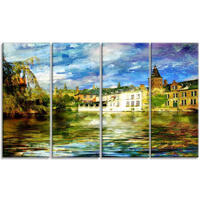 Designart Old Belgium Channel Landscape Photography Canvas Print - 4 Panels