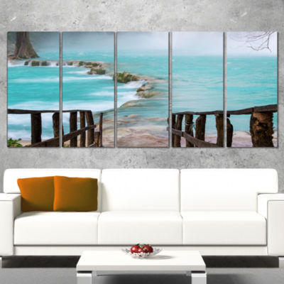 Old Bridge into Mexico Waterfall Seashore Canvas Art Print - 4 Panels