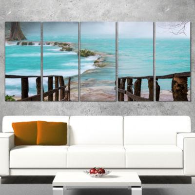 Designart Old Bridge into Mexico Waterfall Seashore Canvas Art Print - 5 Panels