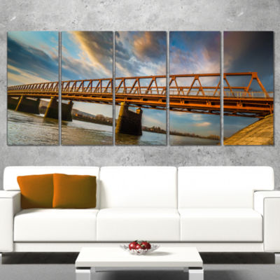 Old Bridge Over River on Cloudy Day Wooden Sea Bridge Canvas Wall Art - 4 Panels