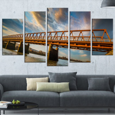 Old Bridge Over River on Cloudy Day Wooden Sea Bridge Wrapped Canvas Wrapped Art - 5 Panels