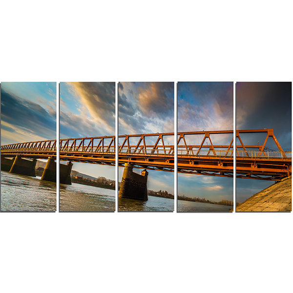 Designart Old Bridge Over River on Cloudy Day Wooden Sea Bridge Canvas Wall Art - 5 Panels
