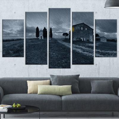 Designart Old Chapel in Rainy Night Landscape Photo Canvas Art Print - 4 Panels