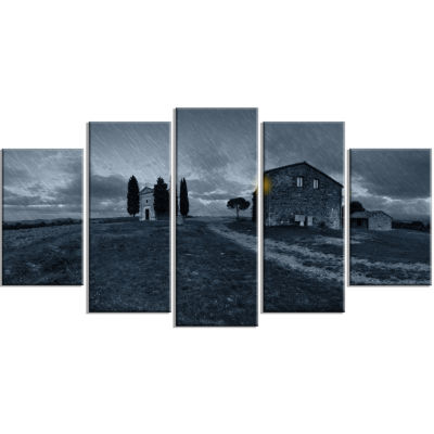 Old Chapel in Rainy Night Landscape Photo Canvas Art Print - 5 Panels