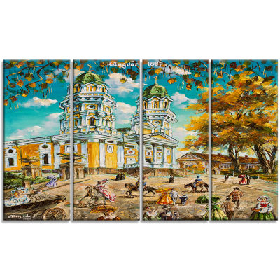Old Church Landscape Art Print Canvas - 4 Panels